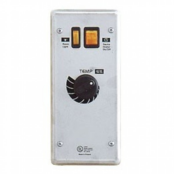 SC-Club On/Off switch, thermostat, light switch and indicator light. For use in commercial saunas when attendant is on duty as this control does not have a timer.
